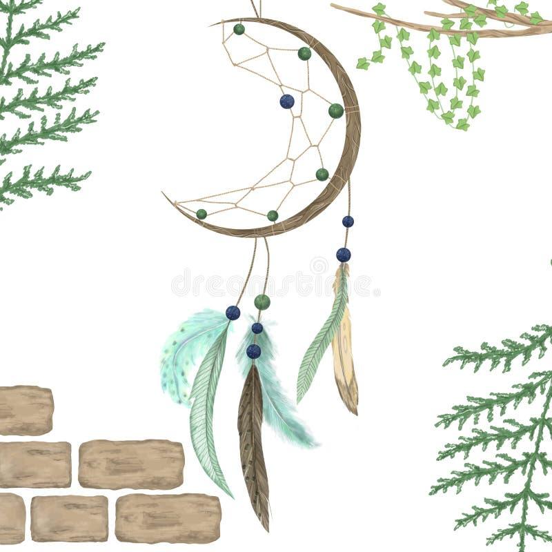 Le receveur r?veur avec les plumes et la partie tribale de boho de dessin d'illutration num?rique d'art de rouge bleu de ruban im illustration de vecteur