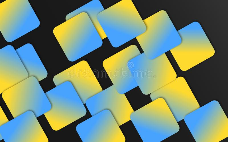 Le recouvrement bleu et jaune ajuste le fond - papier peint géométrique abstrait de formes illustration stock