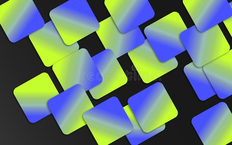 Le recouvrement bleu et vert ajuste le fond - papier peint géométrique abstrait de formes illustration stock