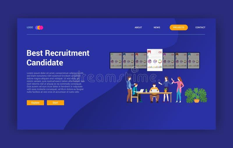 Le recrutement choisissent le meilleur employé de candidat pour la page de calibre de conception de site Web - illustration de ve illustration libre de droits