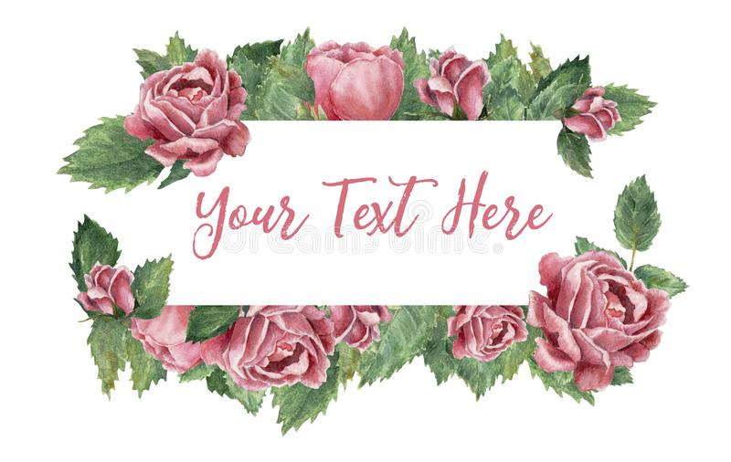 Le rectangle a formé le cadre fait de roses de floraison roses illustration de vecteur