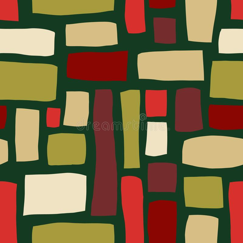 Le rectangle forme le modèle sans couture abstrait tiré par la main de vecteur Blocs rouges, beiges, verts sur le fond vert Fond  illustration libre de droits