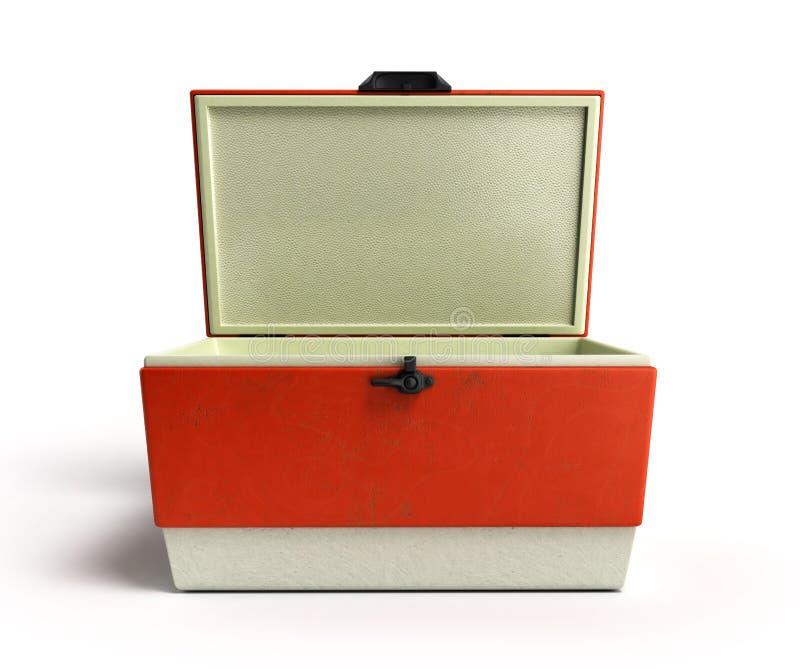 Le refroidisseur ouvert 3d rouge de réfrigérateur de plage rendent illustration stock