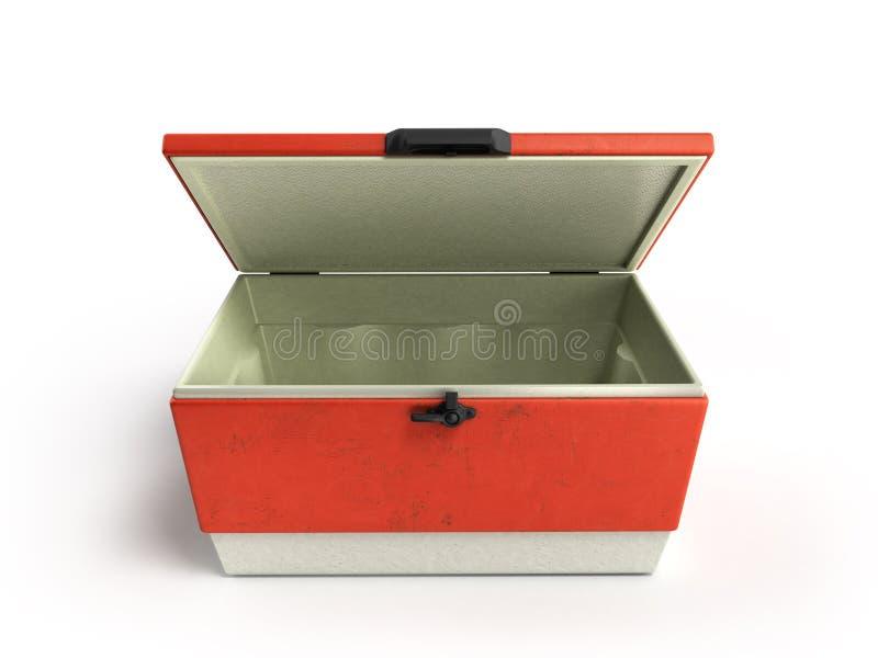 Le refroidisseur ouvert 3d rouge de réfrigérateur de plage rendent illustration libre de droits