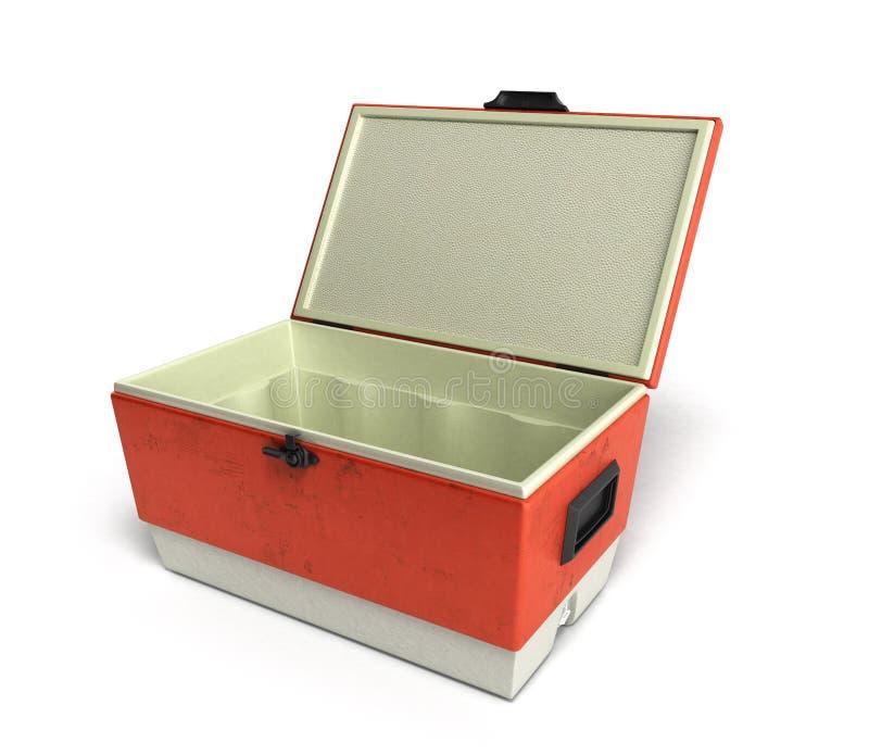 Le refroidisseur ouvert 3d rouge de réfrigérateur de plage rendent sur un blanc illustration libre de droits