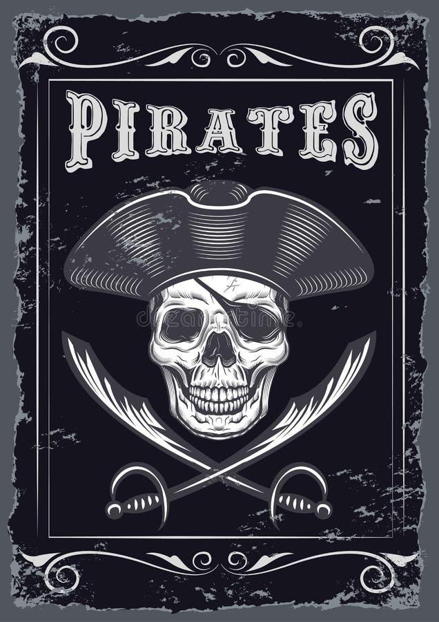 Le regard de vintage invitent le calibre pour une partie ou l'événement avec la mort ou les piratent illustration de vecteur
