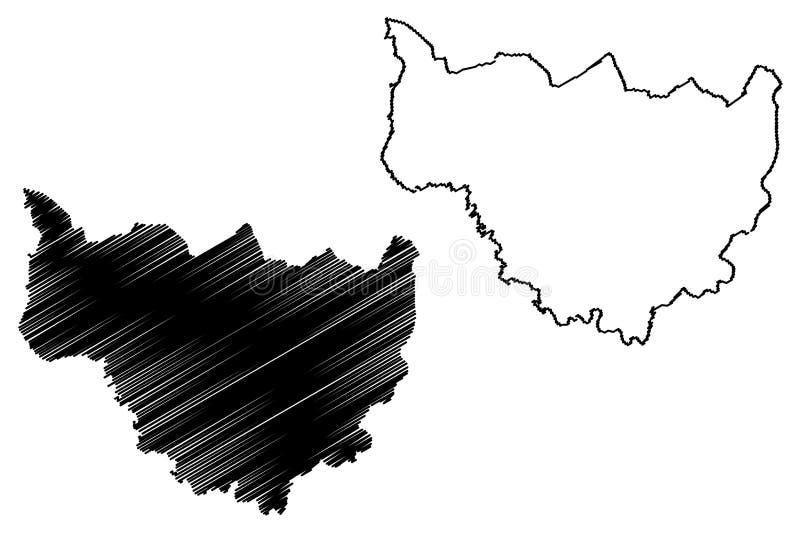 Le regioni di regione delle cascate illustrazione di vettore della mappa di Burkina Faso, Burkina Faso, cascate di schizzo dello  royalty illustrazione gratis