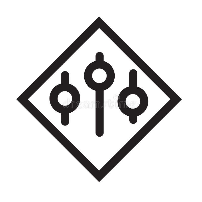 Le regolazioni di controllo di musica abbottonano il segno di vettore dell'icona e il isolat di simbolo illustrazione vettoriale