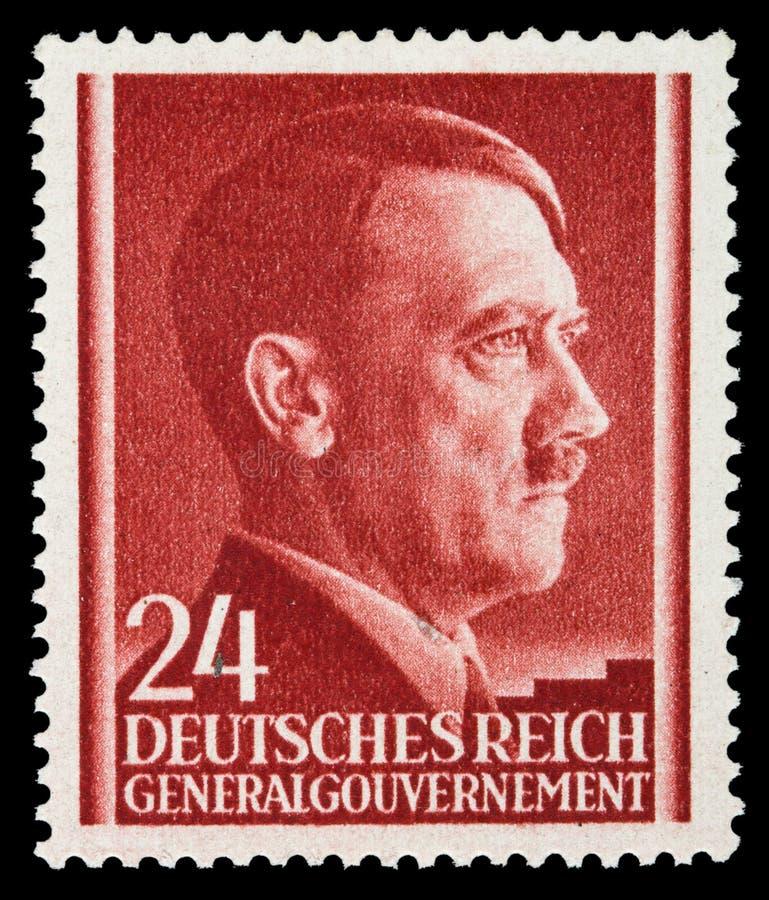 LE REICH ALLEMAND Vers 1939 - c 1944 : Un timbre-poste avec la portrait d'Adolf Hitler image libre de droits