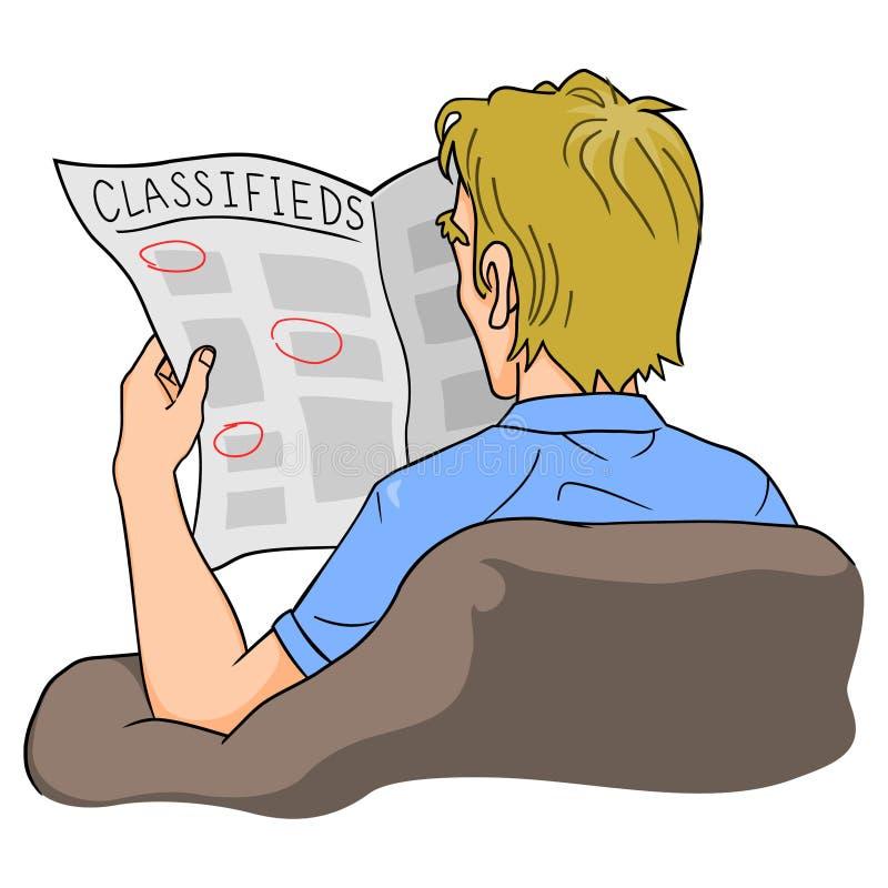 Le relevé Classifieds d'homme illustration stock