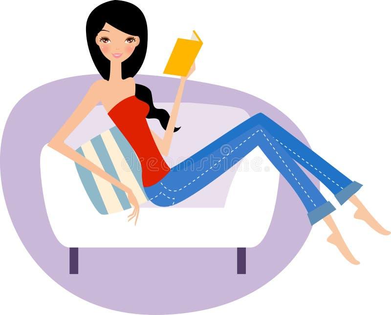 Le relevé de jeune femme sur le divan illustration stock