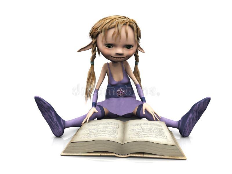 le relevé mignon de fille de dessin animé de livre illustration libre de droits