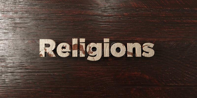 Le religioni - titolo di legno grungy sull'acero - 3D hanno reso l'immagine di riserva libera della sovranità illustrazione vettoriale
