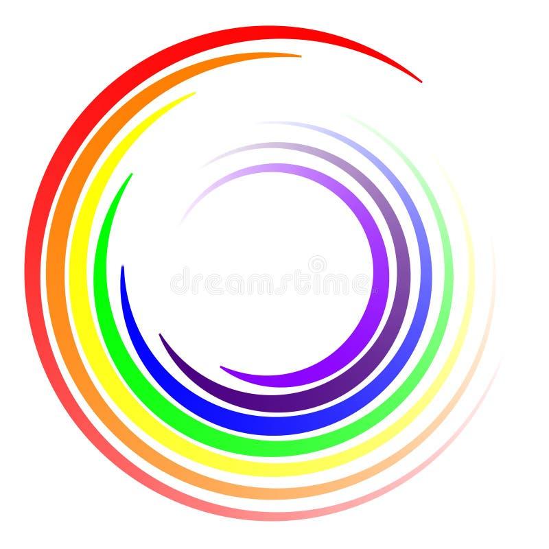 Le remous colore l'arc-en-ciel de LGBT, rayons de tourbillonnement de remous de vecteur de couleurs du calibre de logo d'arc-en-c illustration stock