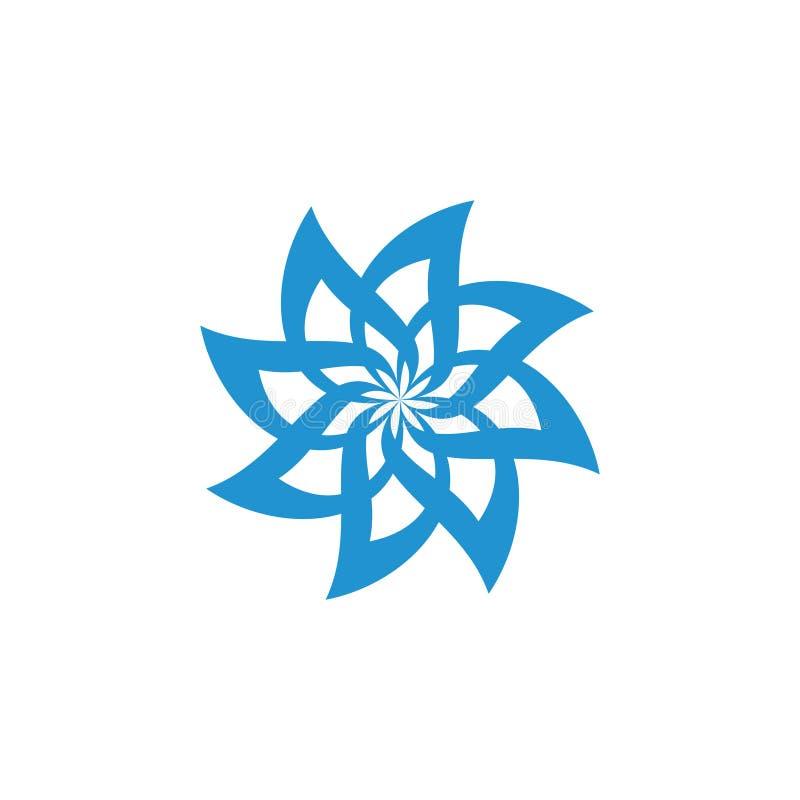 Le remous courbe le vecteur bleu de logo de symbole de fleur illustration stock
