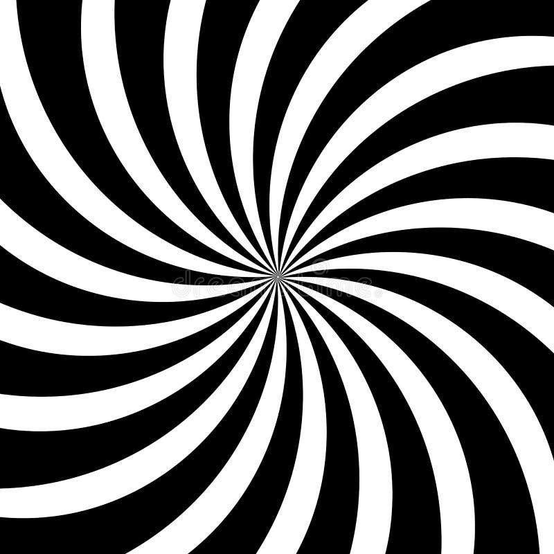 Le remous hypnotique raye le fond noir blanc abstrait de modèle de spirale de vecteur d'illusion optique illustration de vecteur