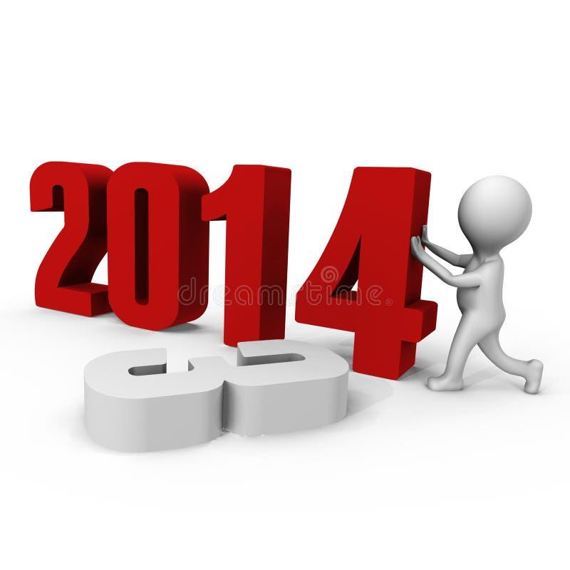 Le remplacement numérote à la nouvelle année 2014 de forme - un ima 3d illustration libre de droits