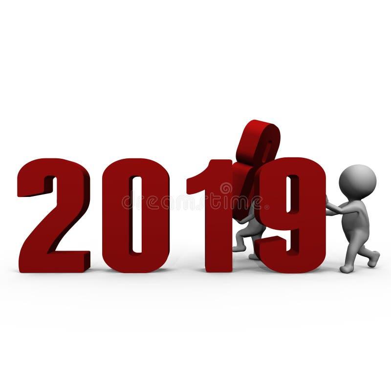 Le remplacement numérote à la nouvelle année 2019 de forme - une image 3d illustration libre de droits