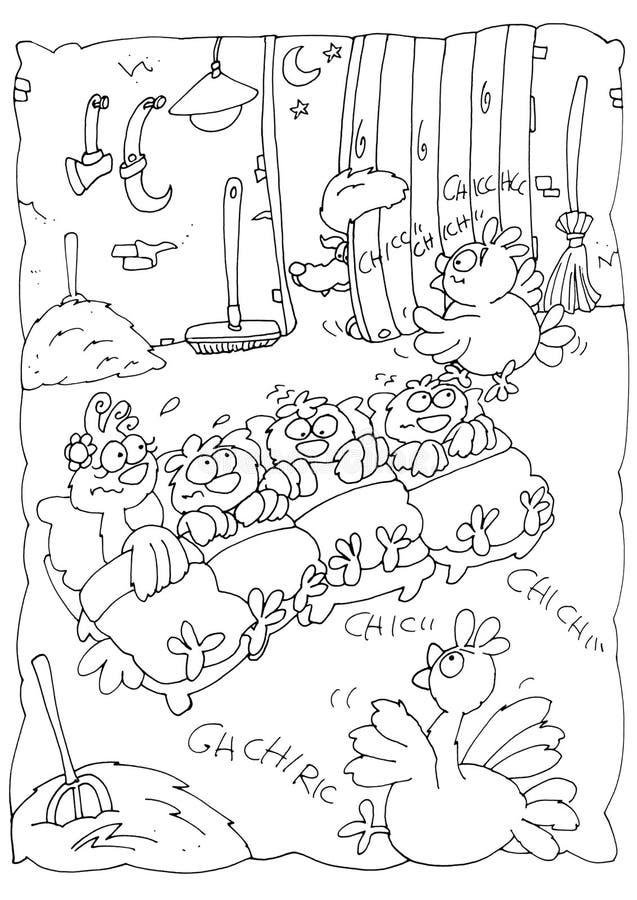 Le renard écrit la nuit dans la grange pour pour dévorer les petits poussins échine colorant les enfants humoristiques pour des l illustration libre de droits