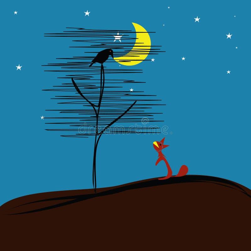 Le renard, le corbeau et la lune illustration libre de droits