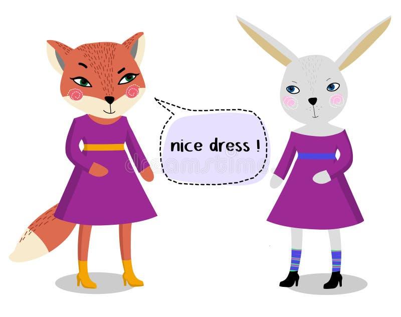 Le renard mignon dans une robe pourpre sur un fond blanc cause avec un lapin illustration stock