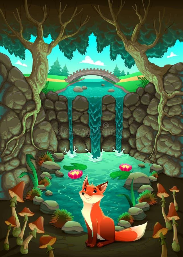 Le renard près d'un étang illustration libre de droits