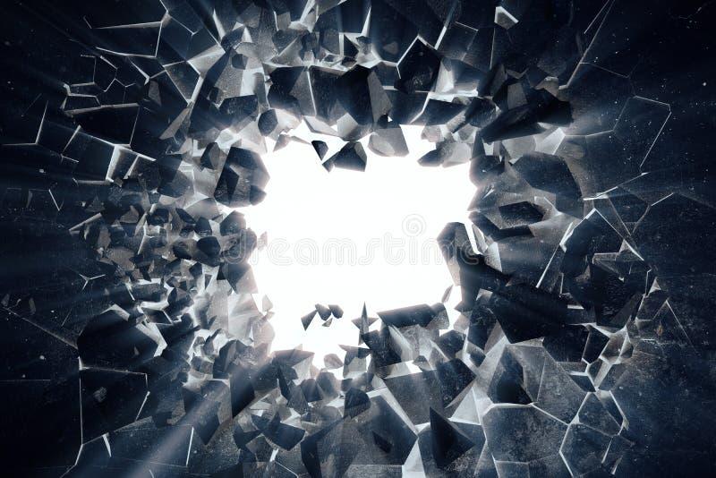 le rendu 3d a étiré le fond abstrait de la terre avec les rayons légers de volume, effets négatifs de photo illustration de vecteur