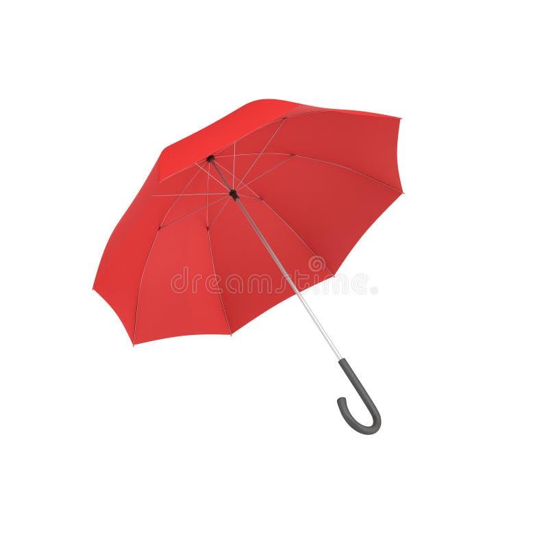 le rendu 3d d'un parapluie rouge ouvert avec un noir a courbé la poignée d'isolement sur le fond blanc illustration libre de droits