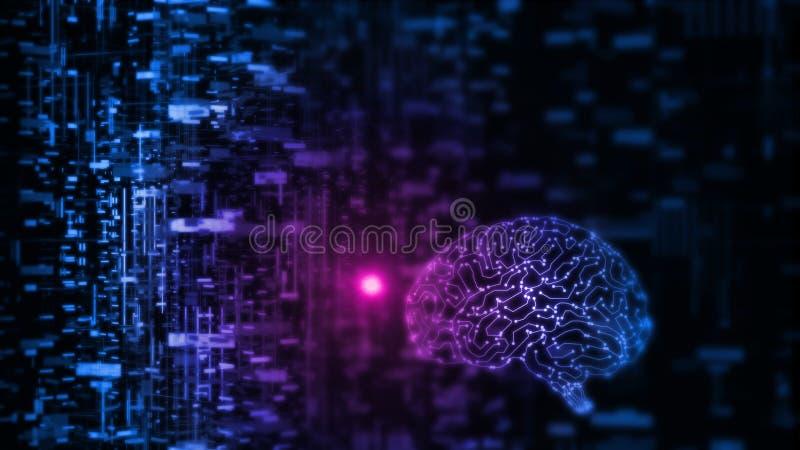 le rendu 3D de l'intelligence artificielle AI fonctionne avec des données abstraites Circuit rougeoyant de cerveau illustration stock