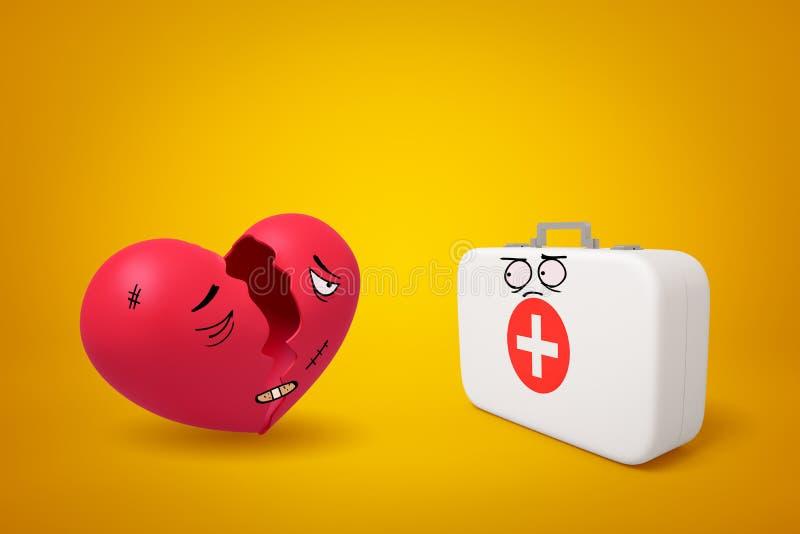 le rendu 3d de la bande dessinée a fait face à la boîte médicale de coeur rouge endommagé cassé et de premiers secours blancs sur illustration libre de droits