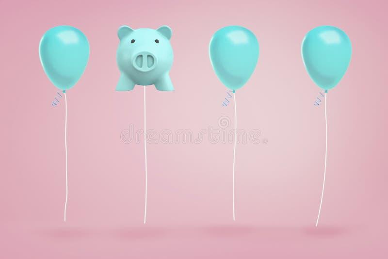 le rendu 3d de la tirelire bleue accrochant sur une ficelle aiment le ballon entre de vrais ballons de festival sur le fond rose images libres de droits