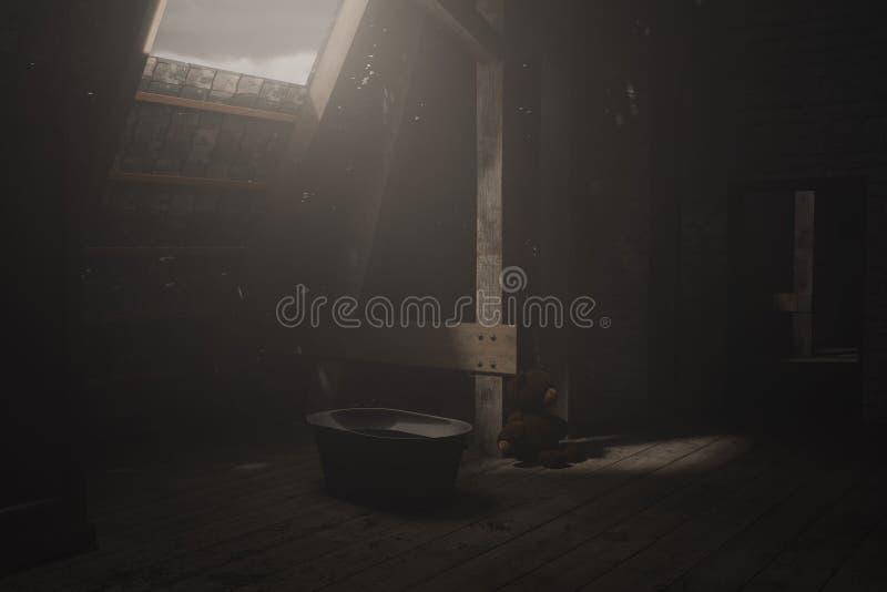 le rendu 3d de obscurcissent le grenier vide avec le te de rayon léger et de séance illustration stock