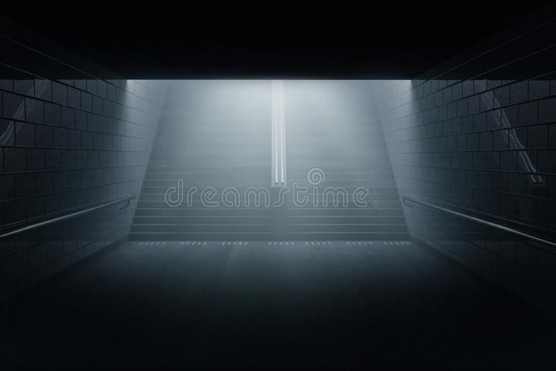 le rendu 3d de obscurcissent le passage souterrain avec l'escalier la nuit dans illustration libre de droits