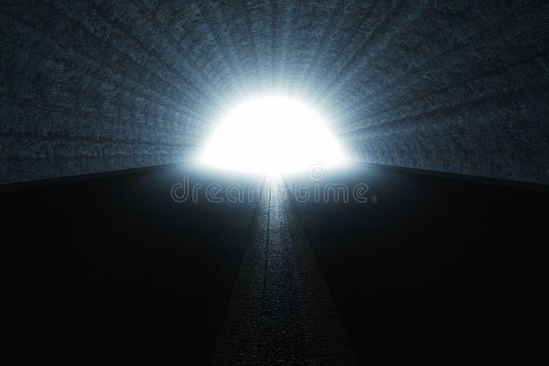 le rendu 3d de obscurcissent le tunnel avec la lumière à l'extrémité du tunnel illustration de vecteur