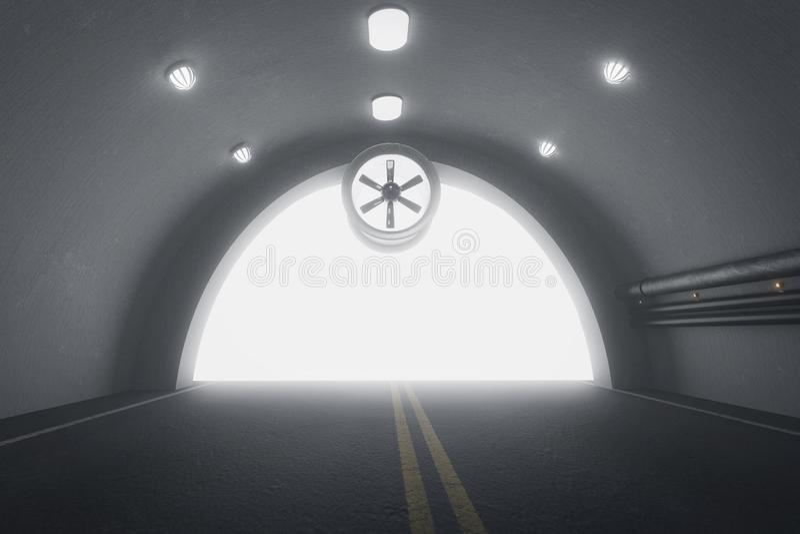 le rendu 3d de obscurcissent le tunnel avec la lumière à l'extrémité du tunnel illustration libre de droits
