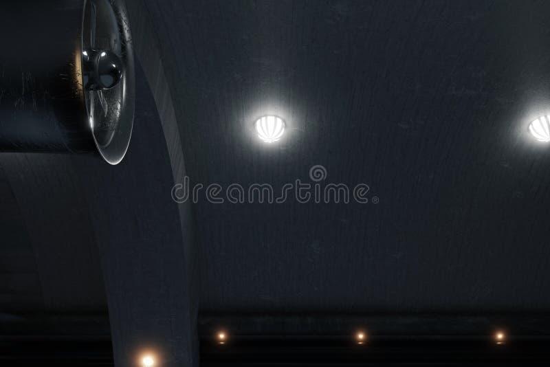 le rendu 3d de obscurcissent le tunnel concret avec les lampes latérales et le grand v illustration libre de droits