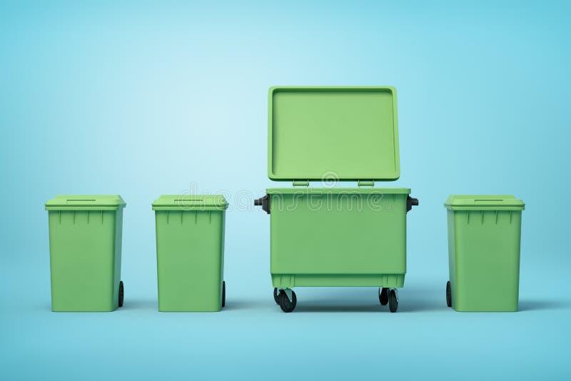 le rendu 3d de quatre poubelles vertes se tenant dans la rangée sur le fond bleu-clair, trois plus petites boîtes s'est fermé  illustration libre de droits