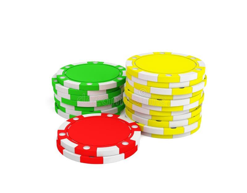 le rendu 3d de trois piles de jeu ébrèche dans des couleurs vertes, jaunes et rouges sur un fond blanc illustration de vecteur