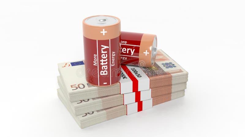 le rendu 3D des batteries sur l'euro billet de banque emballe illustration de vecteur