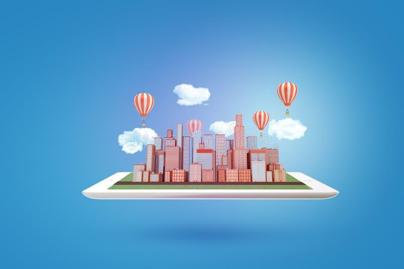le rendu 3d des gratte-ciel de ville modèlent avec des nuages et des ballons à air sur le comprimé sur le fond bleu illustration libre de droits