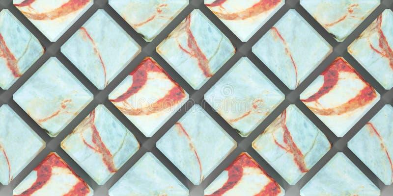 le rendu 3D du mur couvre de tuiles les panneaux, marbre naturel matériel avec un bon nombre de contraster audacieux veinant pour illustration libre de droits