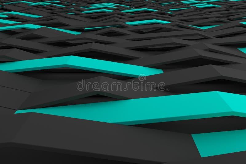 le rendu 3D du plastique mat noir ondule avec les éléments colorés illustration libre de droits