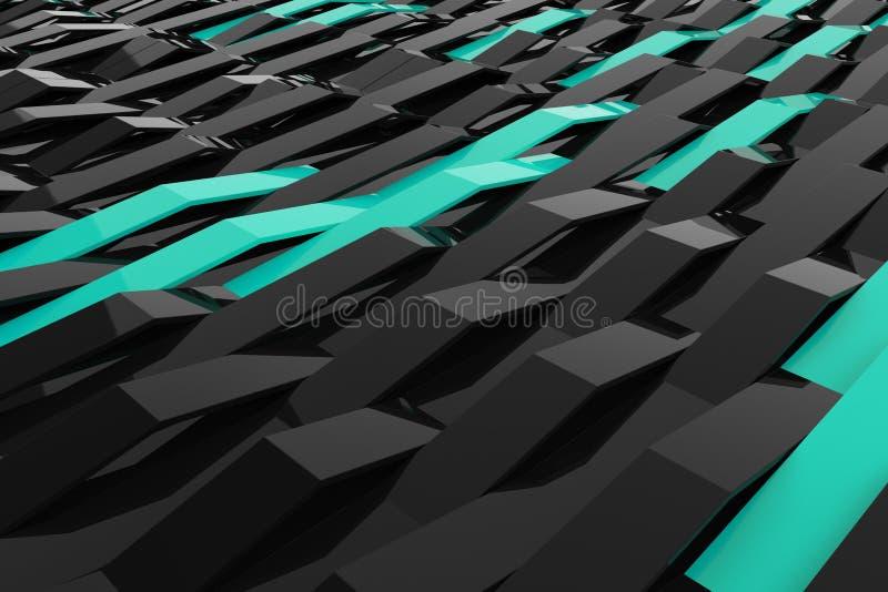 le rendu 3D du plastique noir de lustre ondule avec les éléments colorés illustration libre de droits
