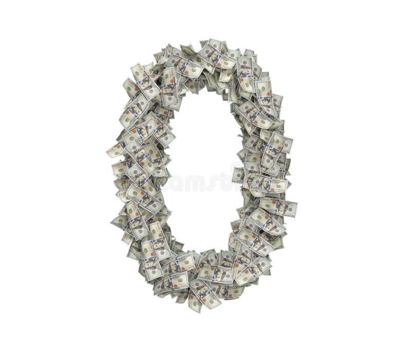 le rendu 3d d'un grand numéro 0 a fait des beaucoup USD cent factures sur un fond blanc images libres de droits