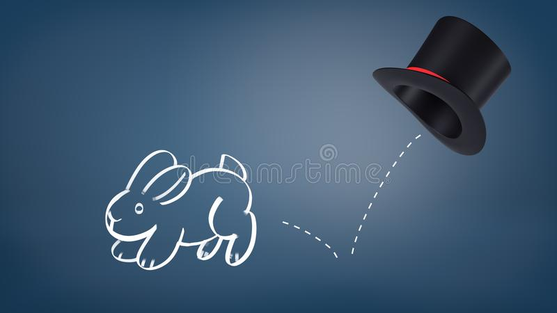 le rendu 3d d'un lapin dessiné par craie saute d'un chapeau du ` s de magicien laissant une ligne pointillée en tant que sa traîn illustration stock