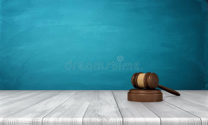 le rendu 3d d'un marteau en bois brun de juge et le bruit bloquent le mensonge illustration libre de droits