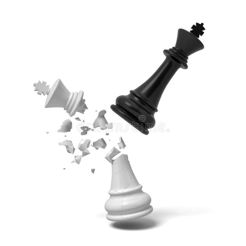 le rendu 3d d'un roi noir d'échecs casse un roi blanc qui fend et tombe sur un fond blanc illustration libre de droits