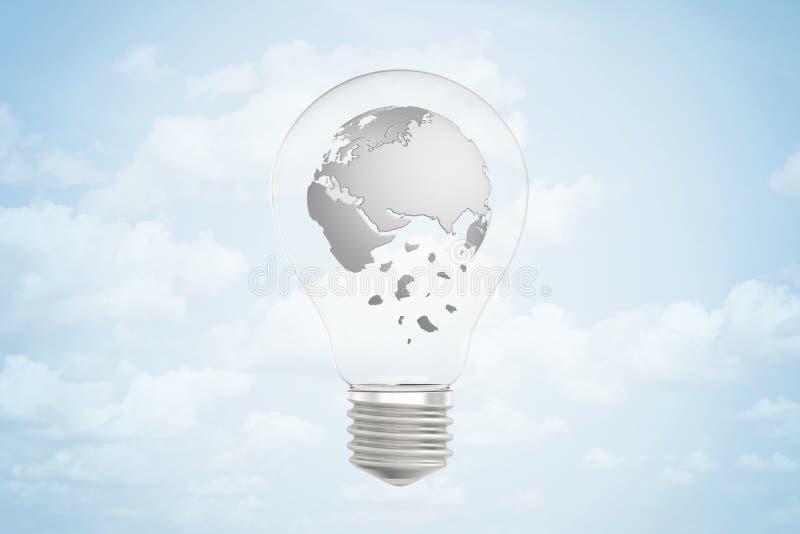 le rendu du plan rapproché 3d de l'ampoule électrique avec le rendu gris des continents de la terre a formé comme sphère à l'inté illustration libre de droits