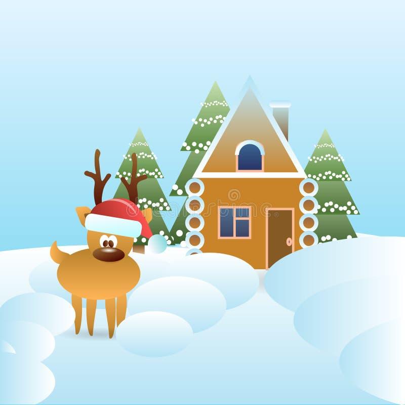 Le renne en Santa Hat Near Gingerbread House a couvert de concept de vacances d'hiver de neige illustration de vecteur