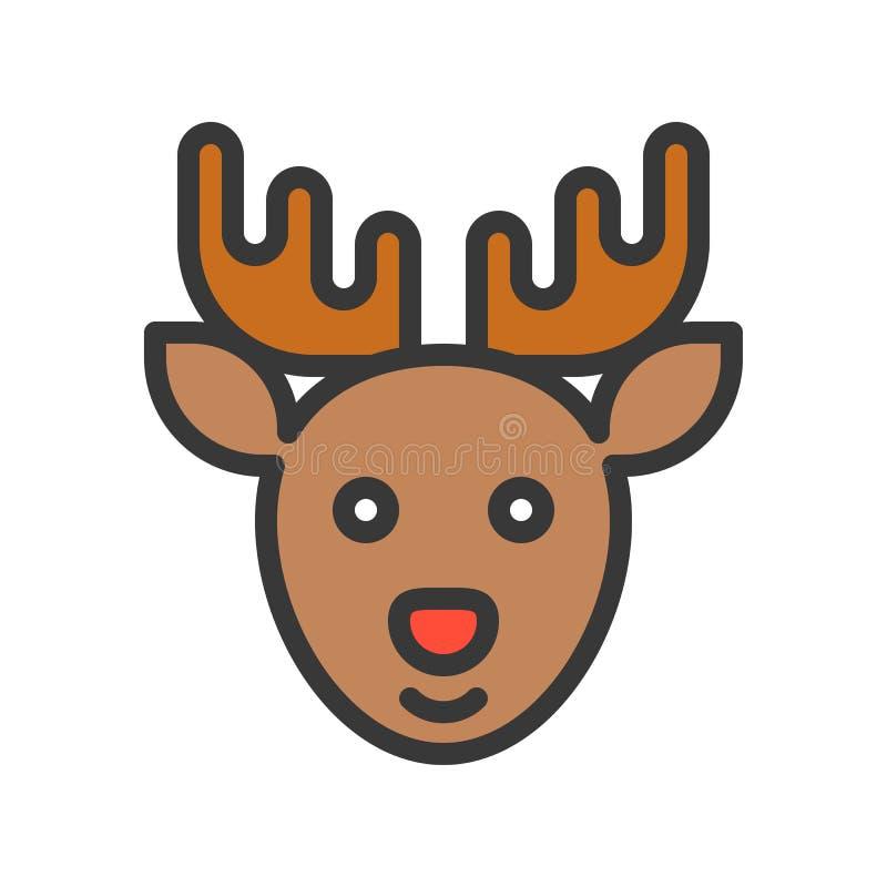 Le renne, ensemble de thème de Joyeux Noël, a rempli streptocoque editable d'ensemble illustration libre de droits